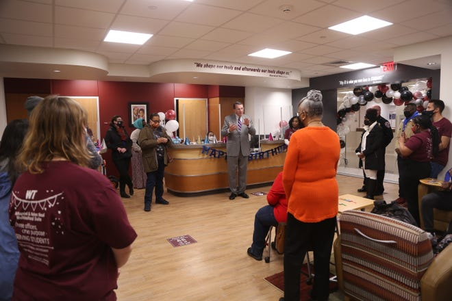 WTAMU President Walter Wendler speaks during the ceremony celebrating the one year anniversary of the Nathaniel and Helen Neal Multicultural Suite.