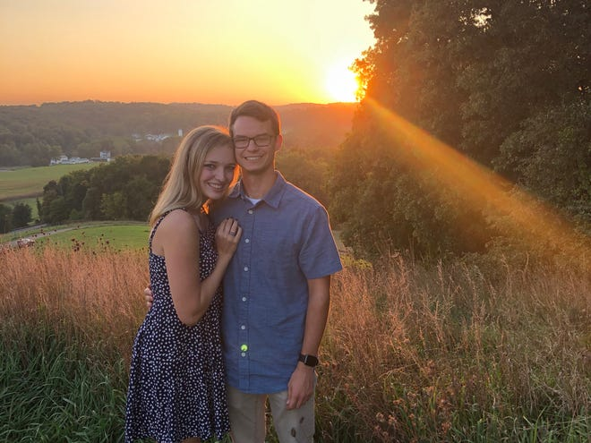Jared Metz and Gracie Wilson on a date to Mount Jeez Overlook in Malabar Farm State Park in September 2020.