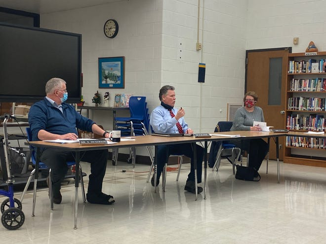 Hillsdale Board of Education members discuss administration items during Tuesday's meeting.