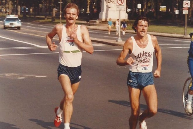 Former New York City Marathon champion Rod Dixon, right, won the 1980 and 1981 titles in the Philadelphia Distance Run. Those same two years, Buckingham's Jan Yerkes won the women's titles.