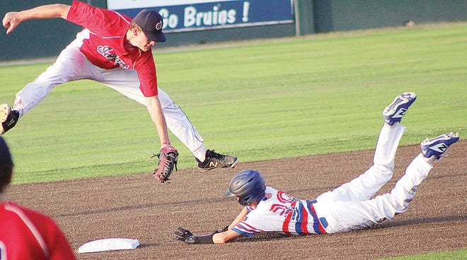 Doenges Ford Indians infielder Daniel Barham, left, makes an acrobatic play at second base during summer baseball play in 2020.