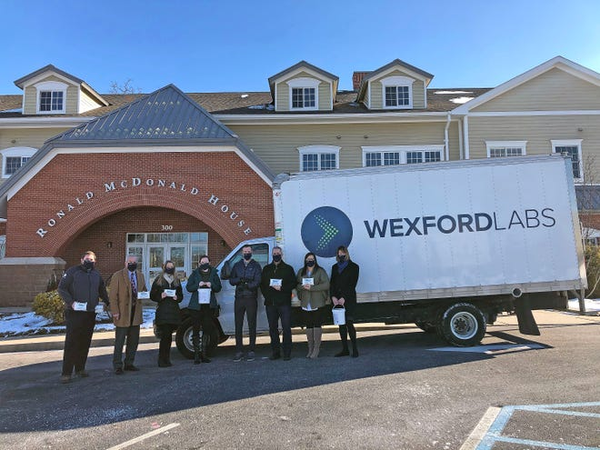 Representatives from Wexford Labs make a recent donation of its CleanCide disinfecting wipes and cleaning solution to the Ronald McDonald House in St. Louis. Wexford has donated enough supplies for the next three to six months to all Ronald McDonald Houses in the U.S. and Canada.