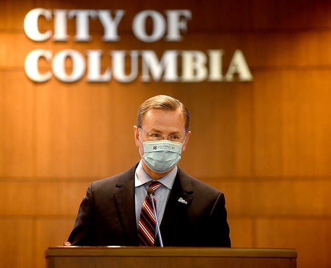 Mayor Brian Treece announces Wednesday during a community briefing at City Hall that new coronavirus cases are half of the number the cases were one month ago.