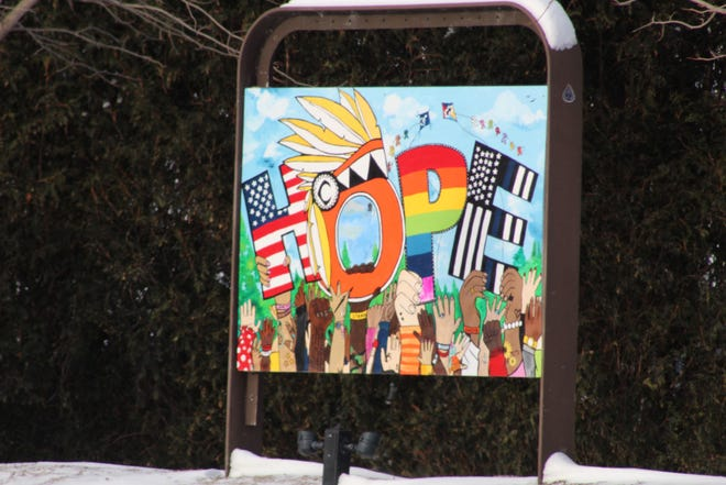 The theme of the artwork at Ottawa Park is Hope and Unity and the artists were asked to portray that in their pieces. The goal of the display is to inspire those who see it to know there's still hope through the pandemic.