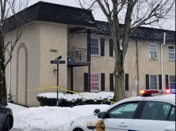 Columbus police crime scene tape cordons off part of the area outside an apartment building on Tennyson Boulevard near where a 14-year-old male was found shot multiple times Wednesday afternoon, Feb. 10, 2020 on the Southeast Side.