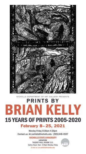 Prints by Bryan Kelly will be up for display at the Nicholls Art Gallery now till February 25th.