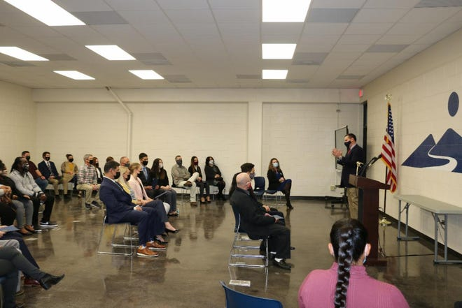 Rep. Hudson addresses students and families at the service academy nomination ceremony at Montgomery Community College on Feb. 9.