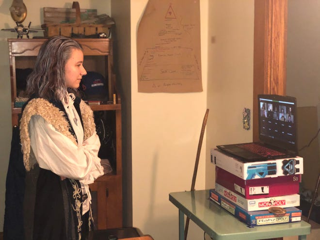 """Abigail Rahz prepares to deliver her lines in the Wooshakes' live-stream performance of """"The Tempest."""""""