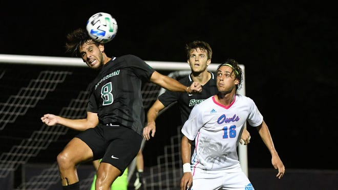 The Stetson men's soccer team fell, 1-0, to host Florida Atlantic on Tuesday night, Feb. 9, 2021, in Boca Raton.