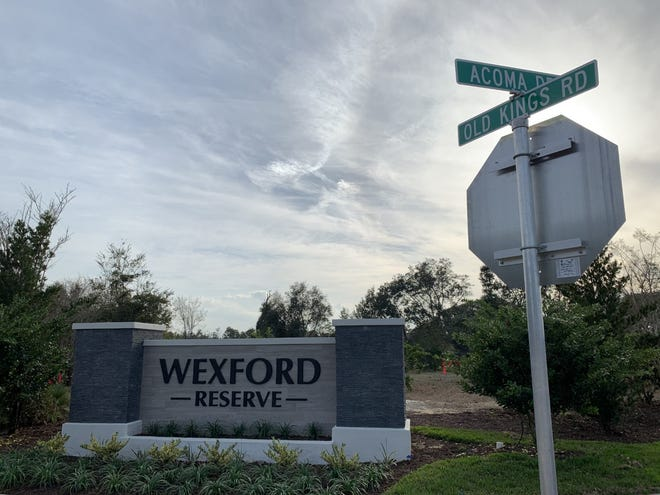 A monument sign for the future Wexford Reserve community can be seen along the west side of Old Kings Road in the area just north of across from the Acoma West entrance to Halifax Plantation in north Volusia County on Wednesday, Feb. 10, 2021.