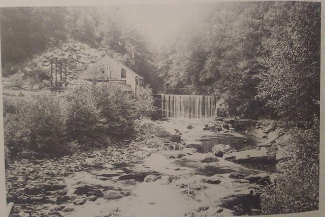 A mill on the Sawkill Creek, Milford, PA. Jacob Klaer (Sr.) and his son Jacob operated a spoke and hub factory and a grist mill, powered by these falls.