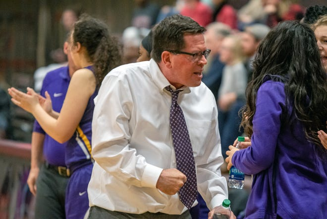 Joe Cusack shows his enthusiasm as a girls basketball assistant coach, but he made his mark as a track and field head coach, leading his Blue Springs teams to seven state trophies and three state titles. He is a member of the 2021 class of the Missouri Track and Cross Country Coaches Association's Hall of Fame.