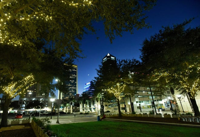 More than 150 trees in downtown Jacksonville's Cathedral District, along with five historic churches and a handful of buildings, are lit up for the holidays.