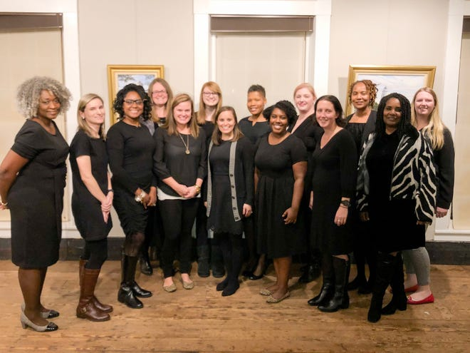 """Gaston County Junior League members pose for a photograph in their """"little black dresses"""" in 2020. Last year, their Little Black Dress Initiative benefitted Bountiful Blessings, a food bank ministry by Mount Zion Restoration Church. This year, the group is partnering with United Way of Gaston County in their Little Black Dress campaign."""