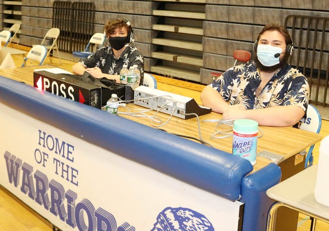 Narragansett juniors Zak Ramos, left, and Matt Hughes have been providing play-by-play and color commentary for the livestream broadcasts of Warriors boys' and girls' home basketball games this winter.