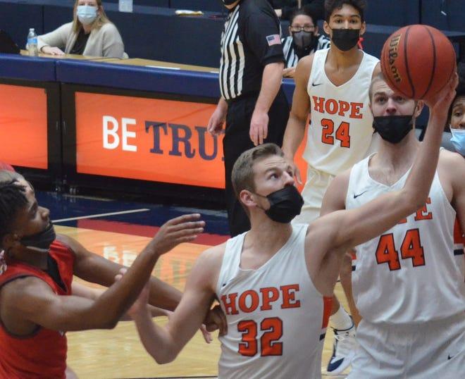 The Hope College men's basketball team faced Olivet College on Feb. 9, 2021, at DeVos Fieldhouse.