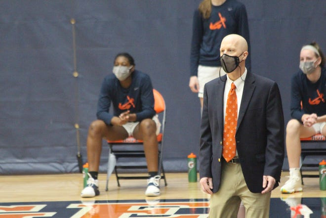 Hope College women's basketball coach Brian Morehouse looks on during the Flying Dutch's win over Calvin University.