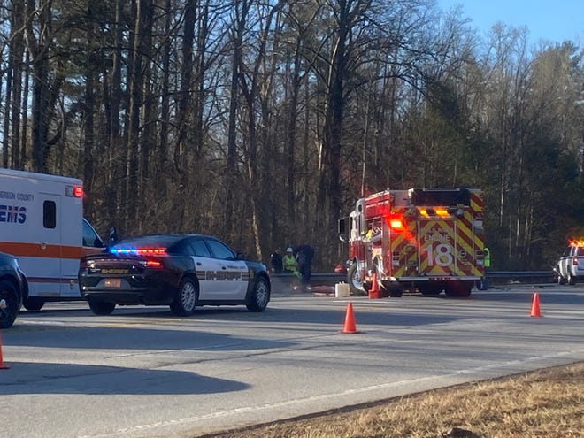 Emergency personnel respond to an accident involving a tractor and a pickup truck on N.C. 280 Wednesday morning.