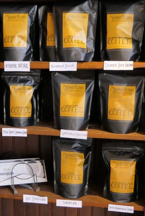 Fresh roasted coffee beans for sale at Rhubarb Market in Hillsboro.