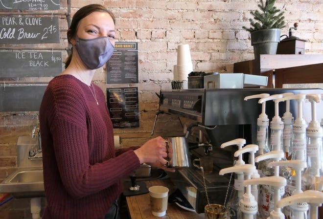 Kara Unruh makes cappuccino at Rhubarb Market Coffeehouse & Roasters in Hillsboro.
