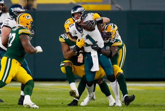 Philadelphia Eagles quarterback Carson Wentz is sacked during the second half against the Green Bay Packers on Dec. 6 in Green Bay, Wis.