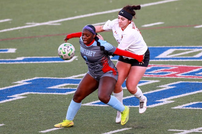 Monterey's Abrysha Walker (3) shields the ball against a Coronado defender during a District 4-5A match Tuesday at PlainsCapital Park at Lowrey Field. Walker participated in a signing ceremony Wednesday to continue her playing career at Tyler Junior College.