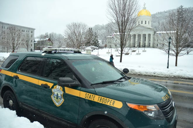 A Vermont state police cruiser outside the statehouse in Montpelier.