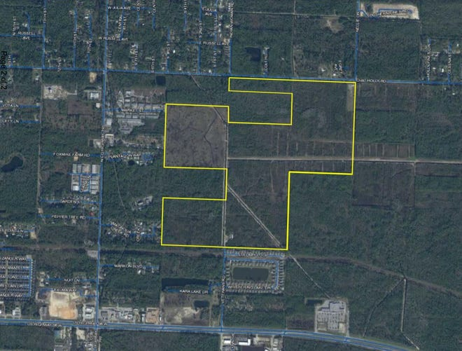 Walton County commissioners have approved an $8.9 million contract to purchase this 220-acre combination of tracts between U.S. Highway 98 (at bottom of photo) and Chat Holly Road, between County Road 393 to the east and U.S. Highway 331 to the west. Plans call for the possible construction of an amphitheater and associated parking on the site. The purchase also will keep the acreage from private development and help with stormwater management, according to Commissioner Danny Glidewell.