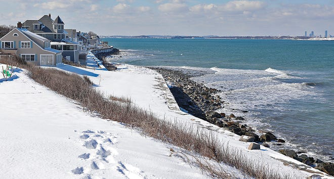 The Point Allerton shoreline in Hull.Hull neighbors are concerned with the damage to a stone seawall at Point Allerton. They would like the state to step in for repairs on Wednesday February 10, 2021 Greg Derr/The Patriot Ledger