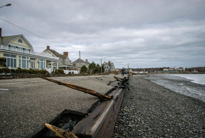 Damage to the seawall on Gooch's Beach in Kennebunk, Maine, is seen after a nor'easter battered the coast in early March 2018.