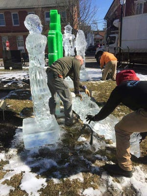 Ice sculptures are put up near Courthouse Square in Stroudsburg during Winterfest.