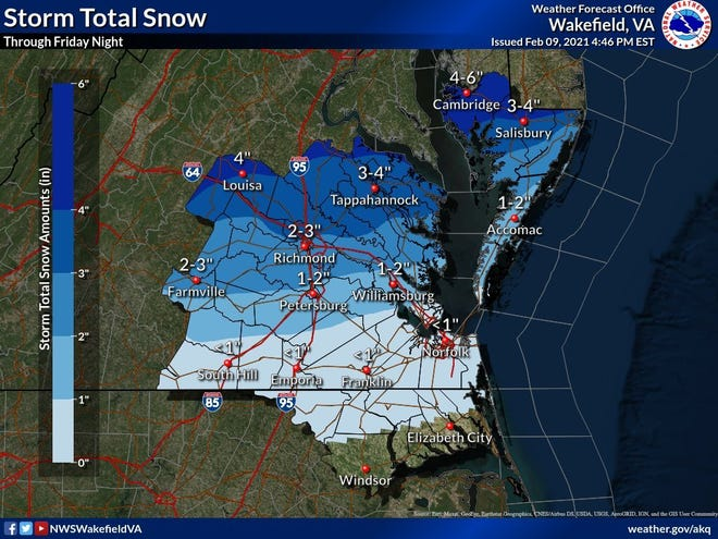 Here is what the National Weather Service expects for Petersburg in terms of snow and sleet accumulations by Friday.