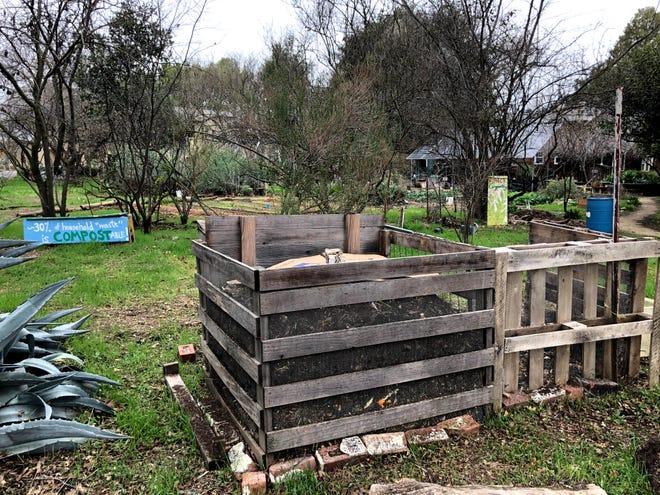 Agrarian Effort student housing compost piles at University of California, Davis, in January 2021.