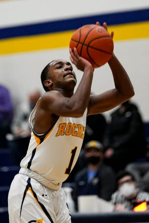 Streetsboro senior Zamar Harris drains one of his six 3-pointers against Woodridge Feb. 9, 2021.