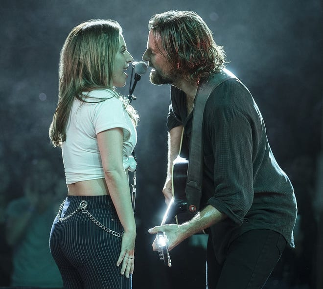 """AT THE PALACE. A rising vocal star (played by Lady Gaga) and a failing rock star (Bradley Cooper) find turbulent romance in the musical drama """"A Star is Born,"""" showing at 7:30 p.m. Saturday at the Canton Palace Theatre at 605 Market Ave. N. Tickets, $10, may be ordered at 330-454-8172. All seats are reserved, masks are required, concessions must be pre-ordered."""