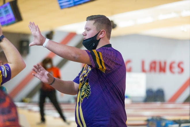 Hononegah High School's Cameron Tyler bowls at Viking Lanes on Tuesday, Feb. 9, 2021, in South Beloit.