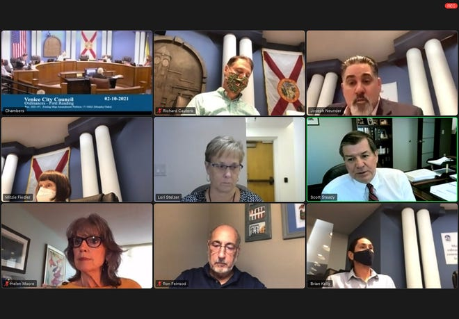 Special Master Scott Steady, middle row right, told the Venice City Council that his opinion that found the council's 2019 rejection of Murphy Oaks could not be used against them in court, but cautioned that efforts to use more than one-quarter of the property as a buffer to benefit Fox Lea Farm could be considered a taking. Pictured at Wednesday's hearing top row center: Vice Mayor Rich Cautero, council member Joe Neunder. Second row from left: council member Mitzie Fiedler, City Clerk Lori Stelzer, Steady. Bottom row from left: council member Helen Moore, Mayor Ron Feinsod, council member Brian Kelly.