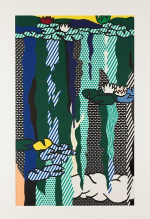 """Roy Lichtenstein's """"Water Lilies with Clouds,"""" a 1992 screenprint on enamel on stainless steel, is one of the pieces featured in Selby Gardens' special exhibition """"Roy Lichtenstein: Monet's Garden Goes Pop!"""""""