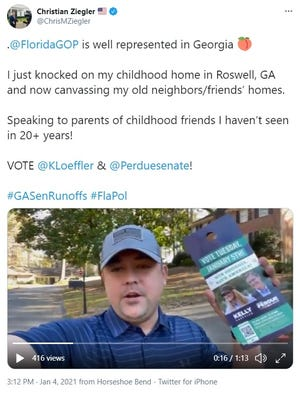 Sarasota County Commissioner Christian Ziegler posted a video to Twitter on Jan. 4, while campaigning for Republican U.S. Senate candidates in Georgia.
