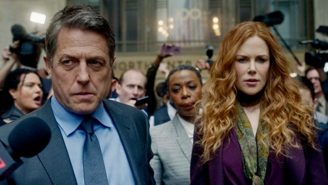 """This image released by HBO shows Hugh Grant, from left, Noma Dumezweni and Nicole Kidman in a scene from """"The Undoing."""""""