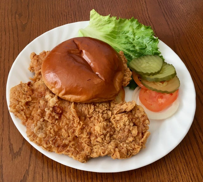 The pork-tenderloin sandwich from MJ's Fish & Chicken Express.
