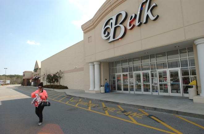 A Belk store is shown at Shallotte Crossing shopping center on Main Street in Shallotte in this March 29, 2006 photo. A judge approved Chapter 11 bankruptcy plans for North Carolina-based Belk on Wednesday, creating a new infusion of capital and cutting the debt load for the beleaguered department store chain.