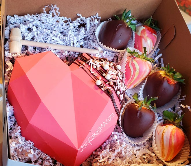 The heart-shaped Valentine's Day box at StacyCakes in Westport