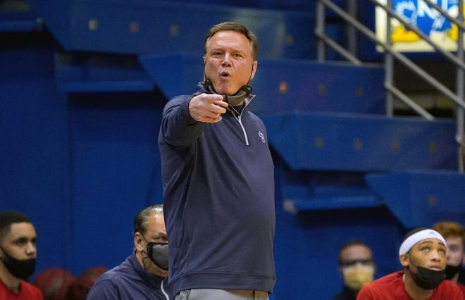 """Kansas basketball coach Bill Self on Monday called his team's upcoming back-to-back matchups against last-place Iowa State """"the two biggest games on our schedule thus far."""" The Jayhawks will play host to the Cyclones at 6 p.m. Thursday before a 2 p.m. Saturday rematch in Ames, Iowa."""