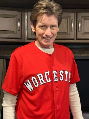 Actor and Worcester native Denis Leary sports a WooSox uniform.