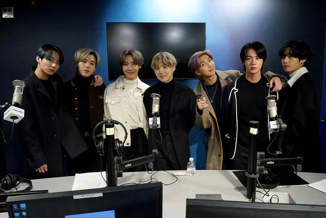 K-pop boy band BTS visit the SiriusXM Studios on Feb. 21, 2020, in New York City.