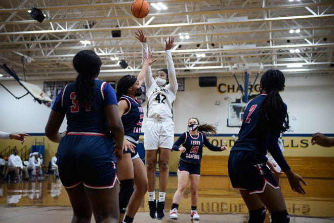 E.E. Smith's Jordan Everett (42) is nearly averaging a double-double for the Golden Bull-ettes. She's second on the team in scoring (10.1 points per game) and leads the squad in rebounding (9.9 rebounds).