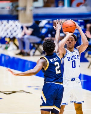 Duke Men's Basketball takes on the University of Notre Dame Fighting Irish in the first half at the Cameron Indoor Stadium on February  9, 2021 at Durham, North Carolina.