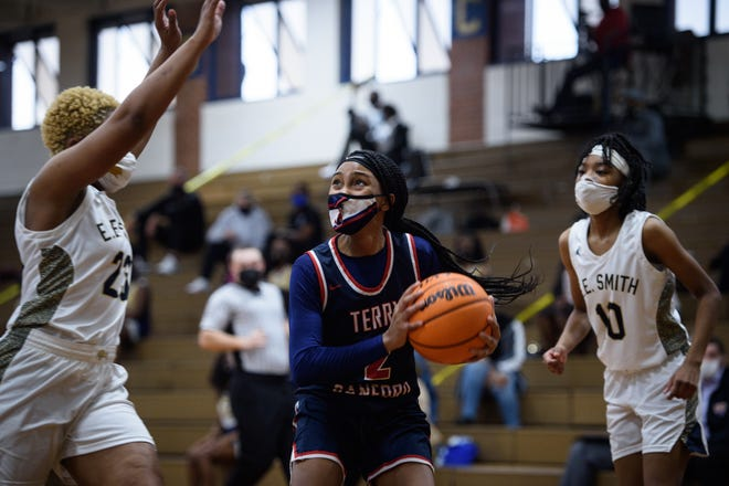 Terry Sanford's Amiah Savage (2) is the latest 910Preps Athlete of the Week. A junior guard, Savage lifted the Bulldogs to a conference title in their win over E.E. Smith on Feb. 9.