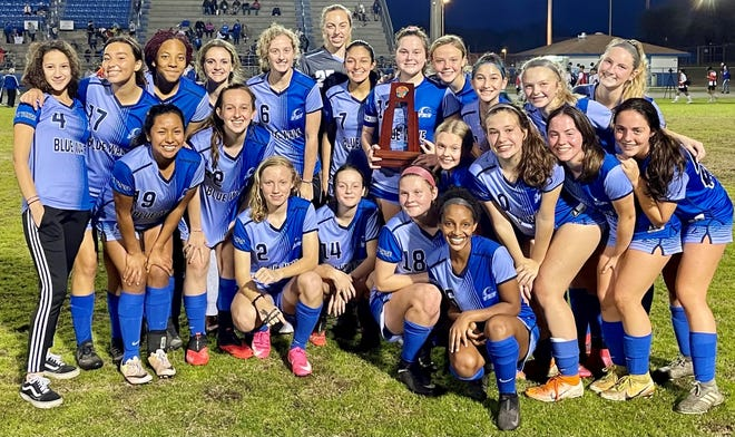 The district champion P.K. Yonge girls soccer team after Tuesday's title win at Keystone Heights.